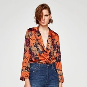 Zara Orange Floral Bodysuit *Blogger Favorite* Med